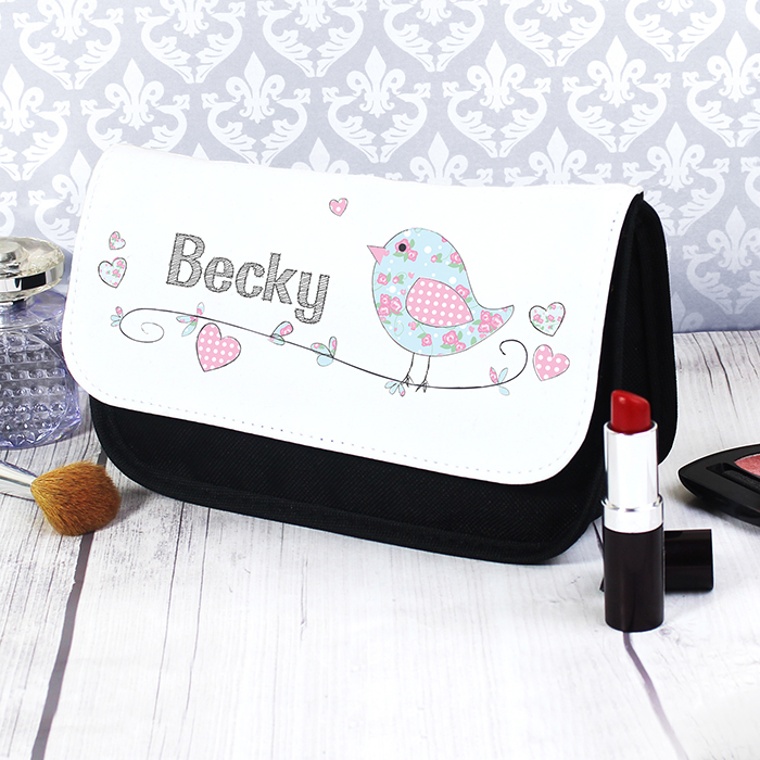 Bird Floral Personalised Make Up Bag