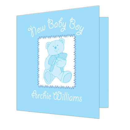 Christening Personalised Card - Blue Teddy