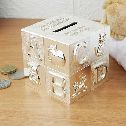 ABC Personalised Cube Money Box - Nickel Plated