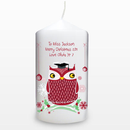 Christmas Teacher Personalised Owl Candle