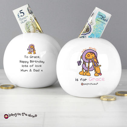 Animal Alphabet Bang on The Door Personalised Girl's Money Box