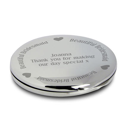 Beautiful Bridemaid Personalised Compact Mirror- Nickel Plated