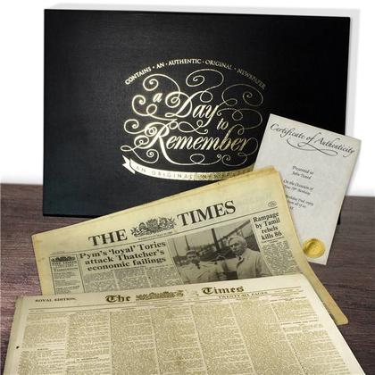 Any Day - Original Newspaper with Luxury Keepsake Case