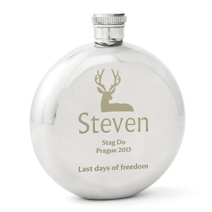 Stag Personalised Round Hipflask - Stainless Steel