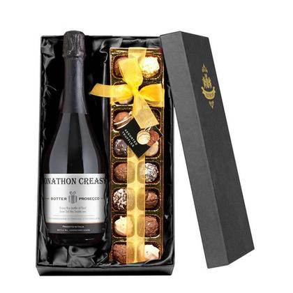 Prosecco Personalised Label & Chocolates with Gift Box