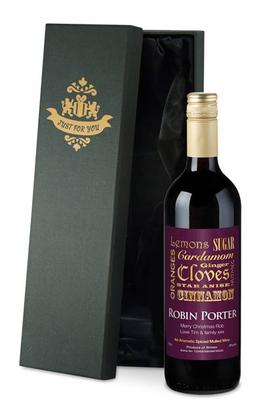Mulled Wine with Personalised Label in a Silk Gift Box