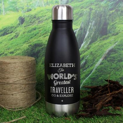Worlds Greatest Personalised Travel Bottle - Black
