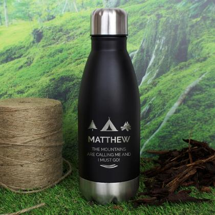 Wilderness Wanderer Personalised Travel Bottle - Black