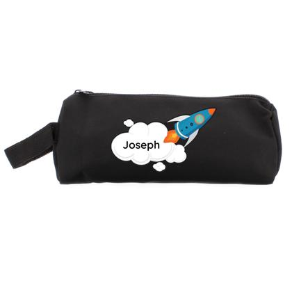 Rocket Personalised Pencil Case - Black
