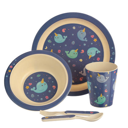 Narwhal Design Bambootique Eco Friendly Kid's Dinner Set
