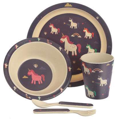 Unicorn Design Bambootique Eco Friendly Kid's Dinner Set