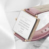 Ladies Personalised Square Face Leather Watch - Pink Blush