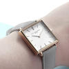 Ladies Personalised Square Face Leather Watch - Shell Grey