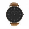 Men's Personalised Black Face Leather Watch - Camel