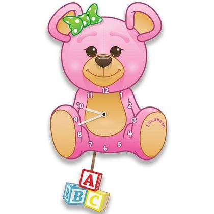 Teddy Bear Personalised Pendulum Wall Clock - Pink