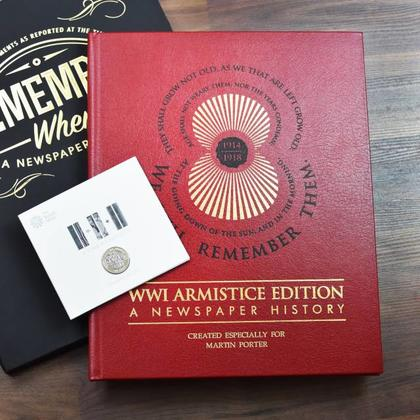 WWI Armistice Edition Personalised Newspaper Book and Gift Box