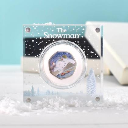 Snowman Silver Proof 50p with deluxe Personalised Gift Box