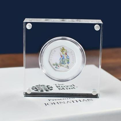 Peter Rabbit Silver Proof 50p with deluxe Personalised Gift Box