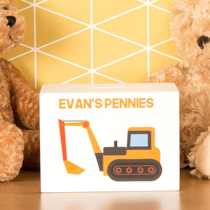 Digger Personalised Wooden Money Box