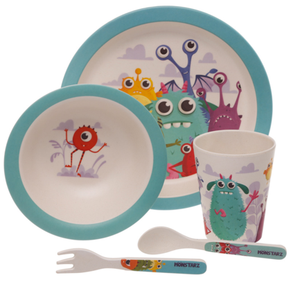 Monsters Design Bambootique Eco Friendly Kid's Dinner Set