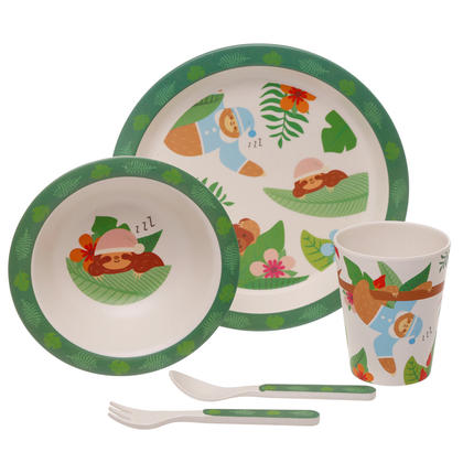 Sloth Design Bambootique Eco Friendly Kid's Dinner Set