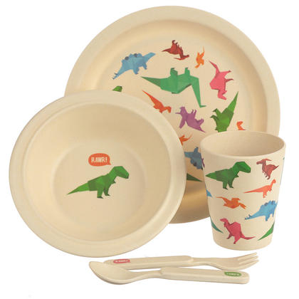 Dinosaur Design Bambootique Eco Friendly Kid's Dinner Set