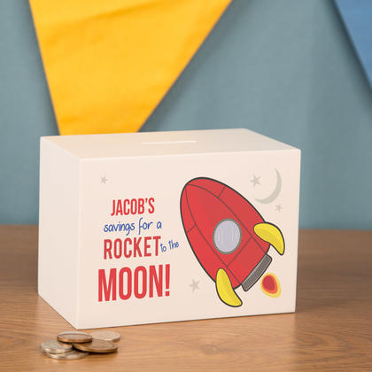 Rocket Space Ship Personalised Wooden Money Box