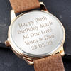 Men's Personalised Rose Gold Tone Watch - Light Brown Strap